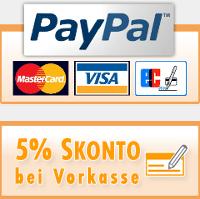 Zahlung über PayPal, Lastschrift, Kreditkarte und Vorkasse möglich